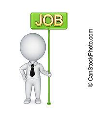 bunner, persoon, groene, job., 3d, kleine