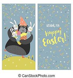 Bunnies, bear and easter eggs