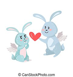Bunnies Boy and Girl with Angel Wings Isolated