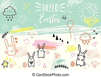 bunnies, hand-drawn, vector, pasen, kaart