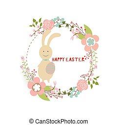 bunnies., ilustrace, vektor, grafické pozadí, karta, design., velikonoční, šťastný