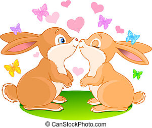 Bunnies in love - Two cute rabbits in love on the spring...