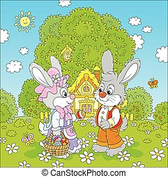 Bunnies on Easter Sunday - Vector illustration of two grey...