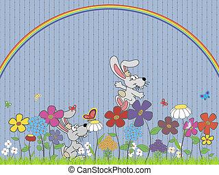 Bunnies On The Flower Meadow