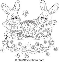 Bunnies with an Easter cake - Small rabbits at the tea table...
