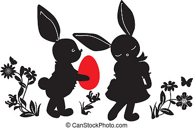 Bunnies with egg gift silhouettes