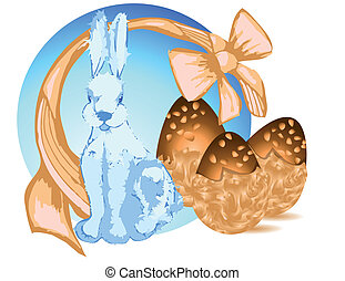Bunny and chocolate eggs. 