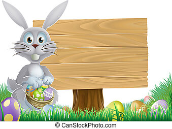 Bunny and Easter message sign