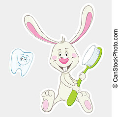 Bunny and toothbrush - Bunny with toothbrush and happy...