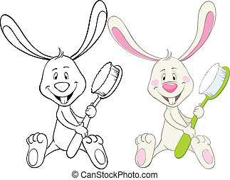 Bunny and toothbrush - Bunny with toothbrush. Color and ...