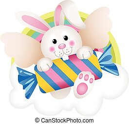 Bunny angel with candy on the cloud - Scalable vectorial...