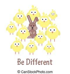 bunny., být, neobvyklý, kuře, ilustrace, šablona