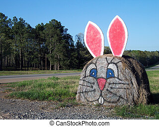 Bunny Bale - Hay bale decorated for easter