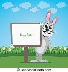 bunny behind sign on spring lawn landscape