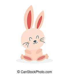 bunny., boldog, csinos, kevés, fehér, élőlény, furcsa
