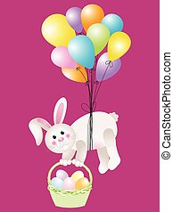Bunny carrying basket Easter eggs