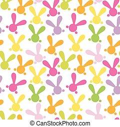bunny., colorido, seamless, patern, vector, pascua