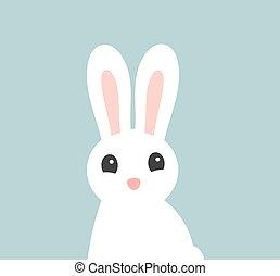 bunny., cute, branca, páscoa