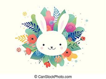 bunny., cute, -, saudação, vetorial, desenho, flores, páscoa, cartão