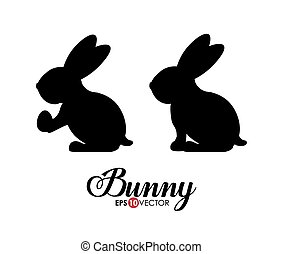 Bunny design over white background, vector illustration