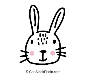 Bunny doodle. Hand drawn lines cartoon vector illustration isolated on white background.