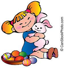 bunny., dziewczyna, wielkanoc