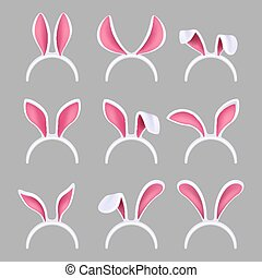 Bunny ears mask. Easter rabbit costume photo booth isolated vector collection