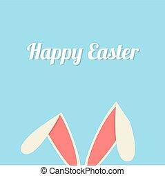 bunny easter, cartão, orelhas