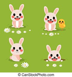 Bunny Easter - Cute funny illustration of bunny celebrating...