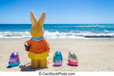bunny easter, com, cor, ovos, ligado, a, oceânicos, praia