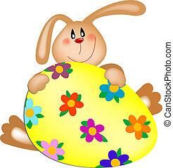 bunny easter, com, um, ovo pintado