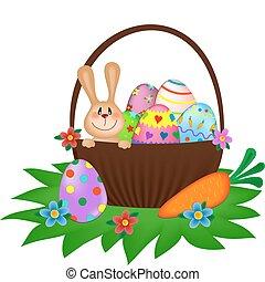 bunny easter, com, um, pintado, ovos, em, a, cesta