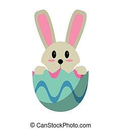 bunny easter, em, ovo, surpresa
