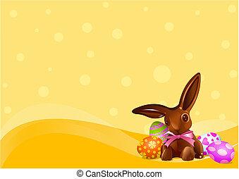 bunny easter, fundo, chocolate