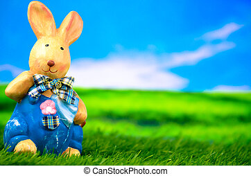 bunny easter, ligado, um, prado