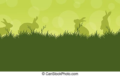 Bunny easter on green backgrounds