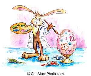 bunny easter, quadro, ovo