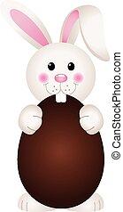 Bunny Eating Chocolate Easter Egg