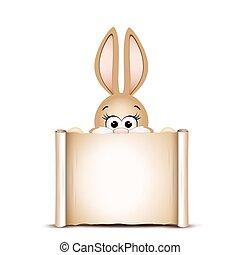 bunny., engraçado, ca, desenho, páscoa, template., cartão, feliz