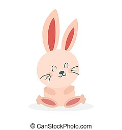 bunny., feliz, lindo, poco, blanco, criatura, divertido