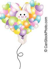 Bunny flying with heart balloon