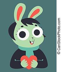 Bunny Girl Holding a Heart