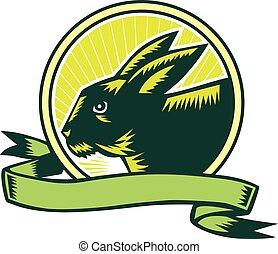 Bunny Head Circle Ribbon Woodcut