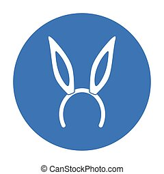 Bunny headband icon in black style isolated on white...