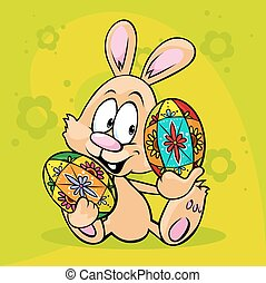 bunny hold easter egg isolated on g