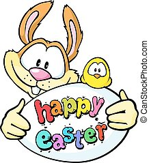 bunny hold egg and chicken - happy easter