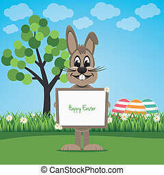 bunny hold sign on spring lawn happy easter