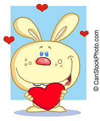 Bunny Holding A Red Heart