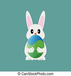 Bunny holding easter egg