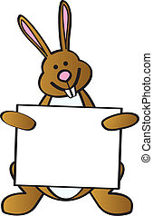 Bunny Holding Sign